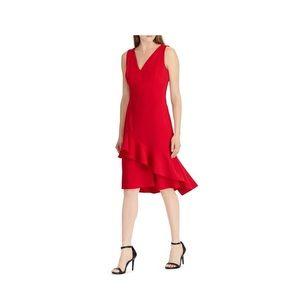 LAUREN Ralph Lauren Womens Dress 8 Red Assymetrica